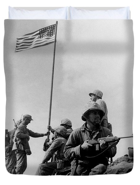 1st Flag Raising On Iwo Jima  Duvet Cover by War Is Hell Store
