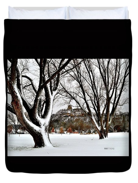 1st Snowfall With Sugarloaf Duvet Cover