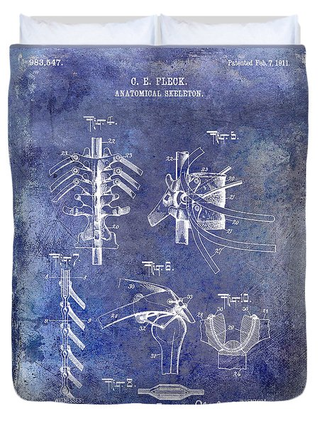 1911 Anatomical Skeleton Patent Blue Duvet Cover