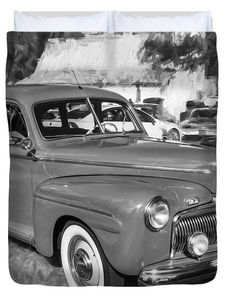 1942 Ford Super Deluxe Sedan Bw  Duvet Cover