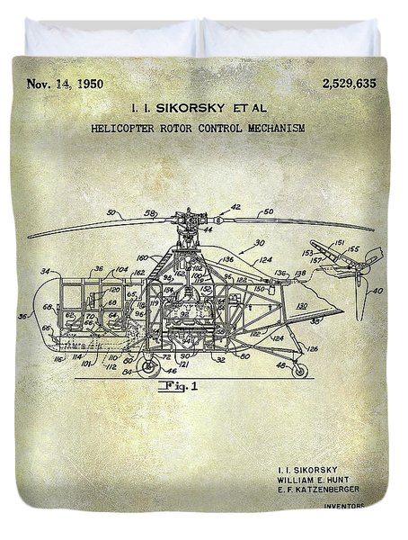 1950 Helicopter Patent Duvet Cover
