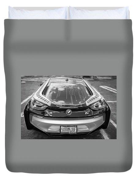2015 Bmw I8 Hybrid Sports Car Bw Duvet Cover by Rich Franco
