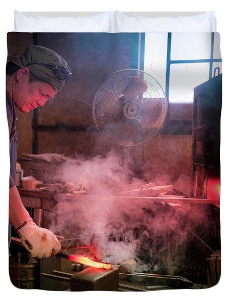 4th Generation Blacksmith, Miki City Japan Duvet Cover