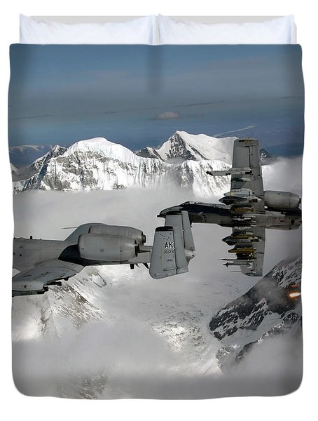 Duvet Cover featuring the photograph A-10 Thunderbolt IIs Fly by Stocktrek Images