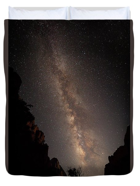 A Dark Night In Zion Canyon Duvet Cover