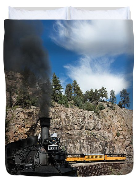 Duvet Cover featuring the photograph A Durango And Silverton Narrow Gauge Scenic Railroad Train Chugs Through The San Juan Mountains by Carol M Highsmith