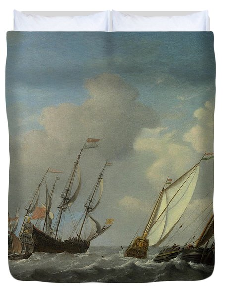 A Dutch Ship, A Yacht And Smaller Vessels In A Breeze Duvet Cover