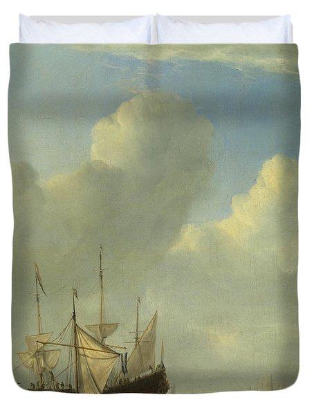 A Dutch Ship Coming To Anchor Duvet Cover