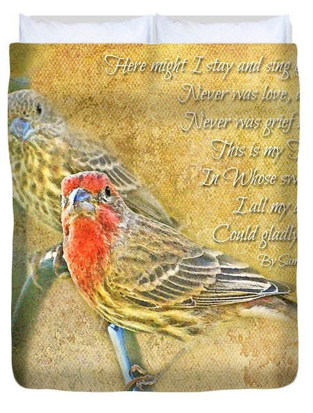 A Pair Of Housefinches With Verse Part 2 - Digital Paint Duvet Cover