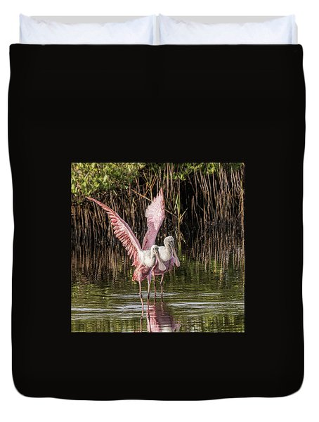A Pair Of Spoonbills Duvet Cover