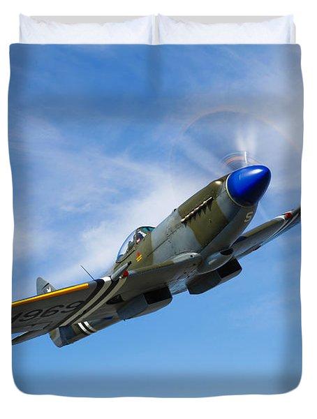 A Supermarine Spitfire Mk-18 In Flight Duvet Cover by Scott Germain