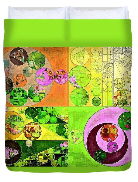 Duvet Cover featuring the digital art Abstract Painting - Turtle Green by Vitaliy Gladkiy