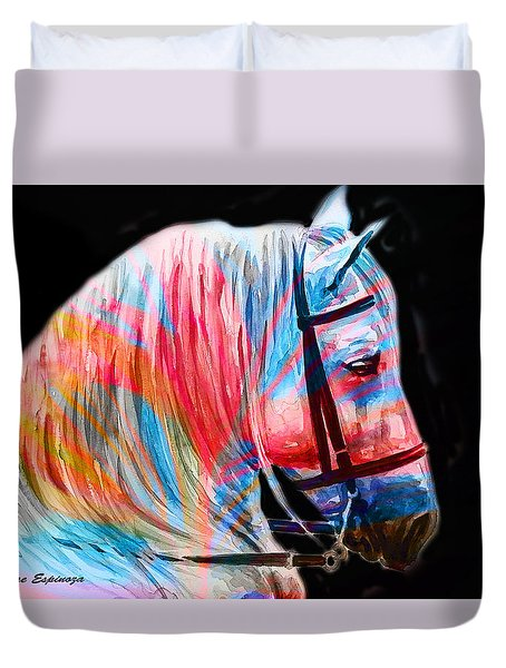 Duvet Cover featuring the painting Abstract White Horse 19 by J- J- Espinoza