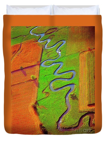 Aerial, Farm, Stream Duvet Cover