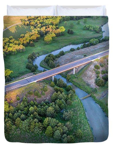 aerial view of Dismal River in Nebraska Duvet Cover