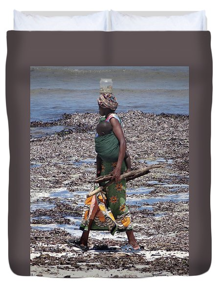African Woman Collecting Shells 1 Duvet Cover