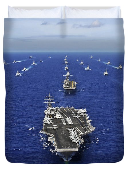 Duvet Cover featuring the photograph Aircraft Carrier Uss Ronald Reagan by Stocktrek Images