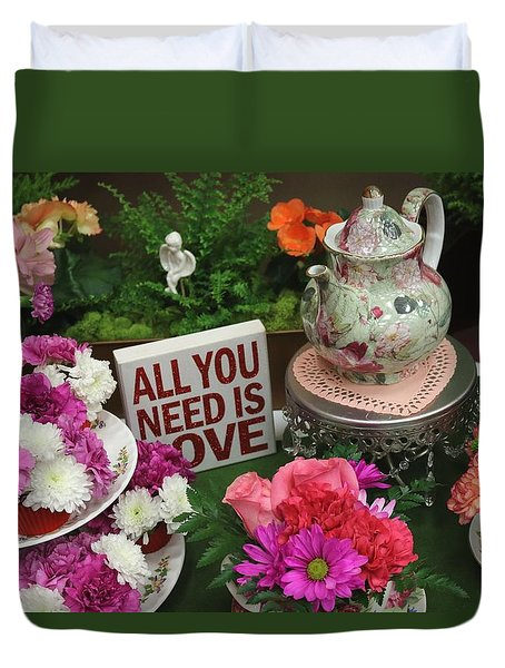 Duvet Cover featuring the photograph All You Need Is Love by Living Color Photography Lorraine Lynch