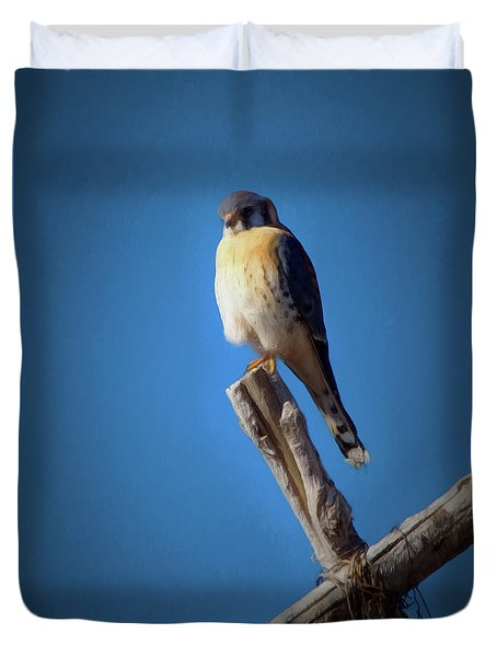Duvet Cover featuring the digital art American Kestrel by Ernie Echols