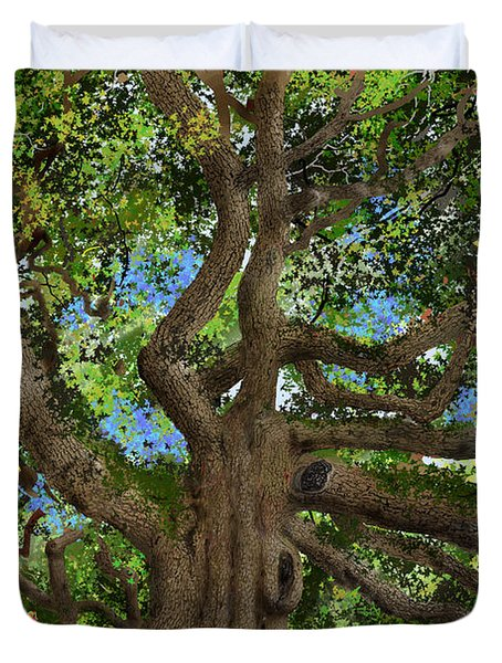 Duvet Cover featuring the drawing Angel Oak by Jim Hubbard