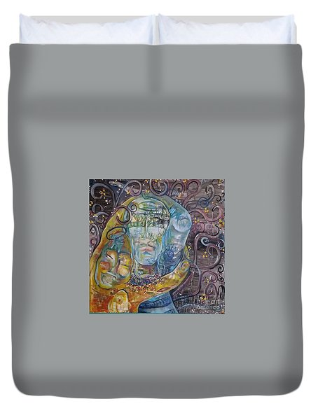 2 Angels Hugging Environmental Warrior Goddess Duvet Cover
