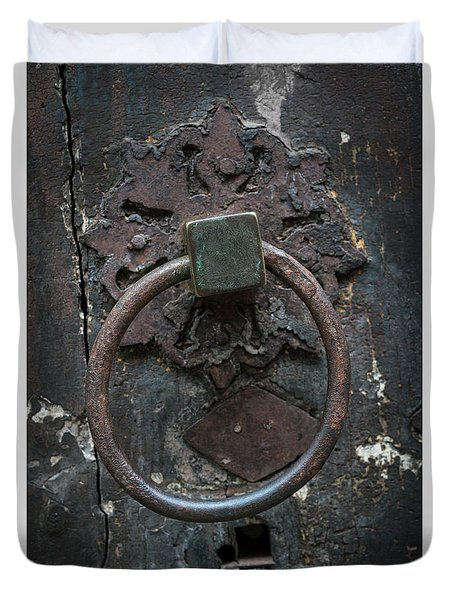 Duvet Cover featuring the photograph Antique Door Knocker by Elena Elisseeva