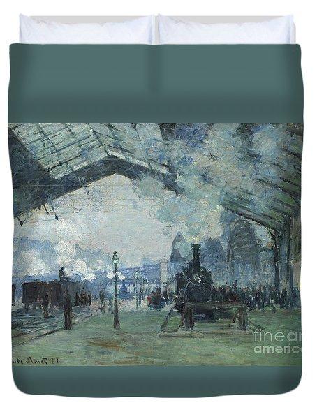 Arrival Of The Normandy Train Gare Saint-lazare Duvet Cover by Claude Monet