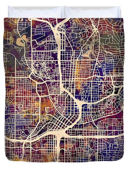 Atlanta Georgia City Map Duvet Cover