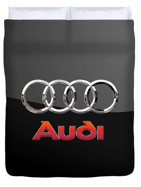 Audi - 3 D Badge On Black Duvet Cover