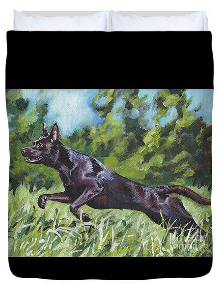 Duvet Cover featuring the painting Australian Kelpie by Lee Ann Shepard