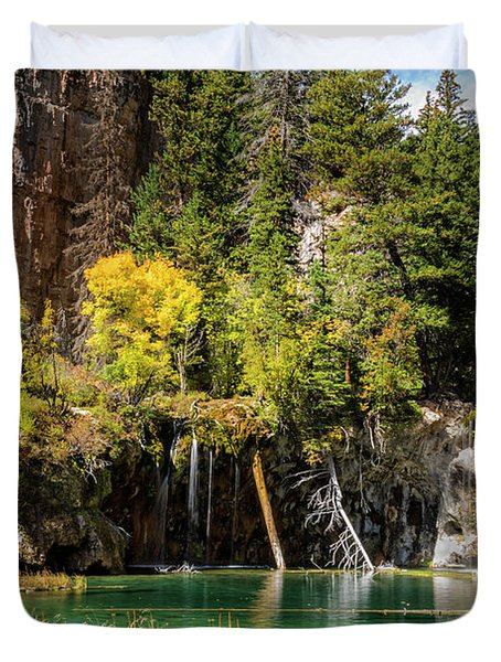 Autumn At Hanging Lake Waterfall - Glenwood Canyon Colorado Duvet Cover by Brian Harig