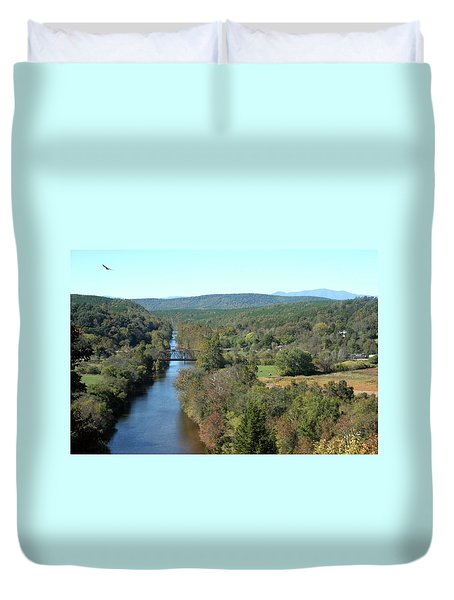 Autumn Landscape With Tye River In Nelson County, Virginia Duvet Cover