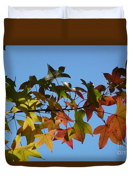 Duvet Cover featuring the photograph Autumn Leaves by Jean Bernard Roussilhe