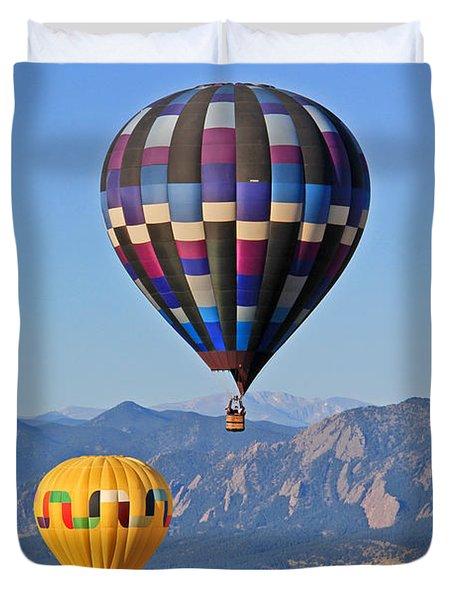 2 Balloons Flying Over The Flatirons Duvet Cover by Scott Mahon