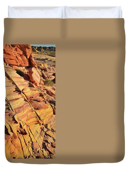 Duvet Cover featuring the photograph Bands Of Color In Valley Of Fire by Ray Mathis
