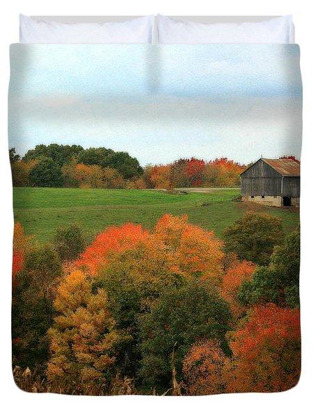 Duvet Cover featuring the photograph Barn On Autumn Hillside by Angela Rath