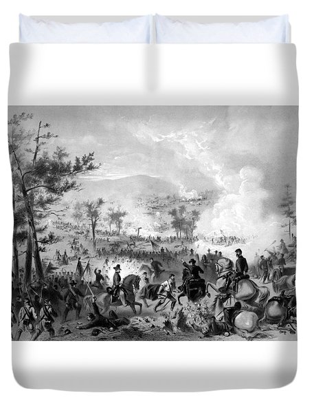 Duvet Cover featuring the drawing Battle Of Gettysburg by War Is Hell Store