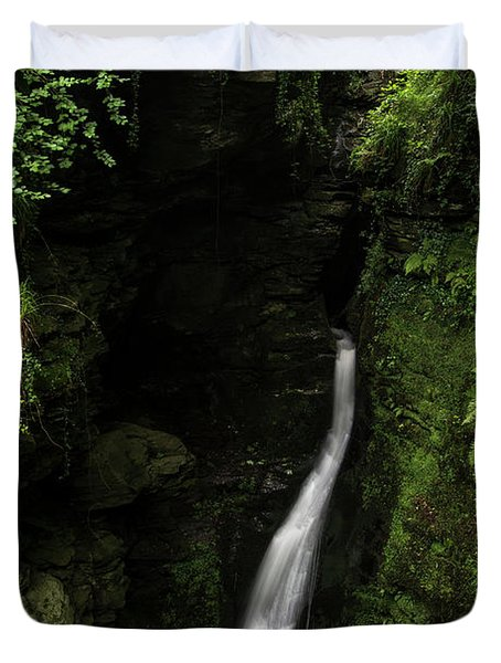 Beautiful Flowing Waterfall With Magical Fairytale Feel In Lush  Duvet Cover