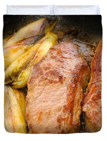 Beef Tenderloins With Endives Duvet Cover