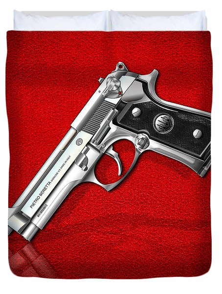 Beretta 92fs Inox Over Red Leather  Duvet Cover by Serge Averbukh