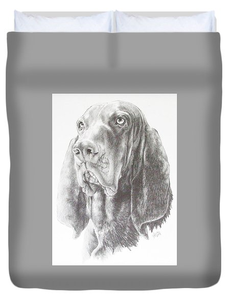 Black And Tan Coonhound Duvet Cover by Barbara Keith