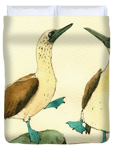 Blue Footed Boobies Duvet Cover