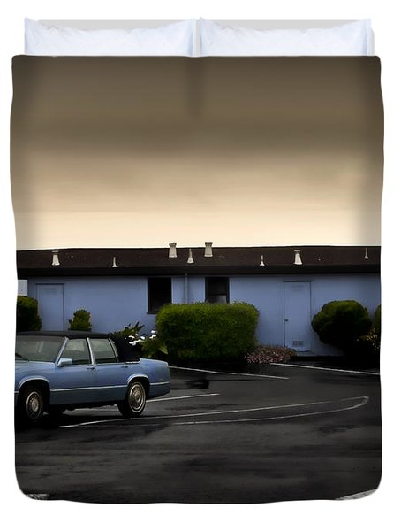 Blue Motel Duvet Cover