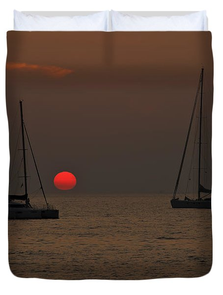 Boats In The Sunset Duvet Cover by Joana Kruse