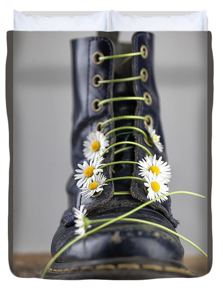 Boots With Daisy Flowers Duvet Cover