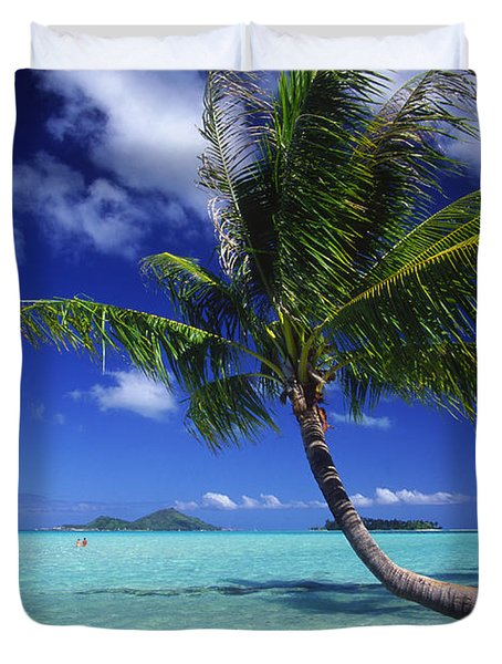 Bora Bora, Palm Tree Duvet Cover by Ron Dahlquist - Printscapes