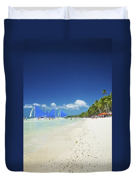 Boracay Island Tropical Beach In Philippines Duvet Cover