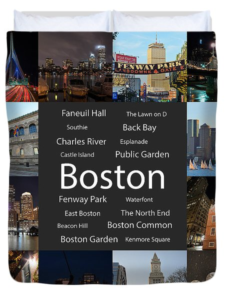 Boston Ma Collage Duvet Cover