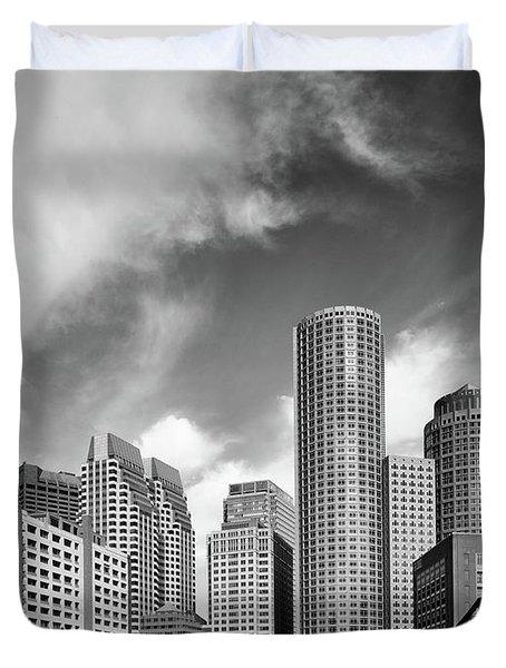 Boston Skyline 1980s Duvet Cover by L O C