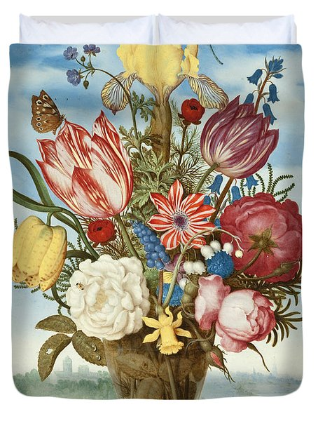 Bouquet Of Flowers On A Ledge Duvet Cover
